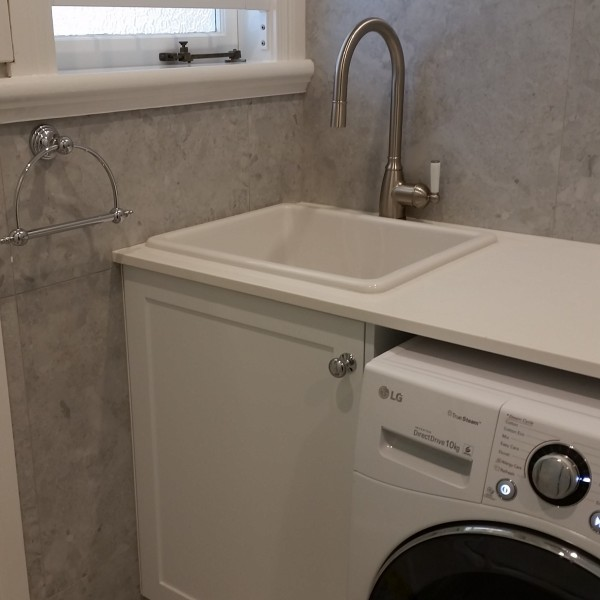 porcelain sink in laundry