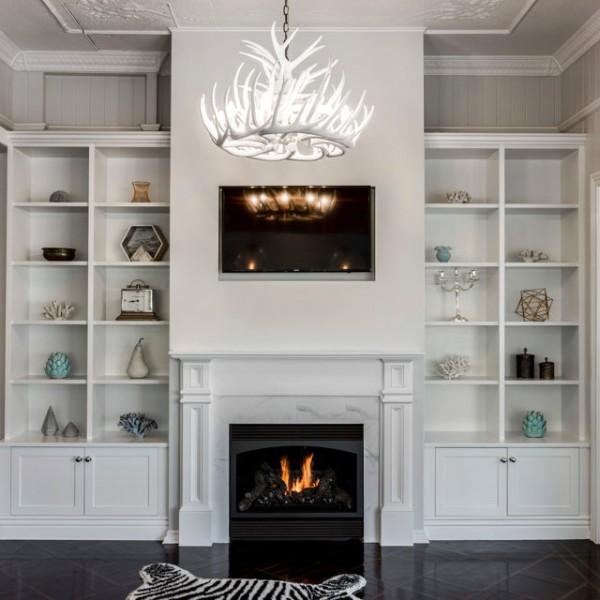 bookshelves fireplace